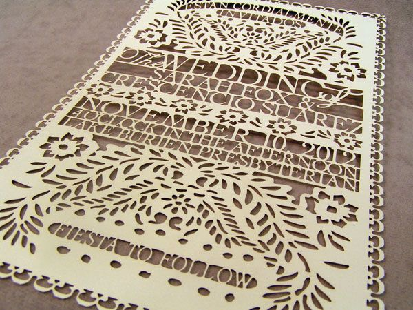 laser cut papel picado invitation