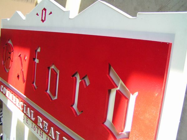 Custom real estate wooden and painted sign