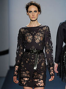 Laser cut neoprene designer dress