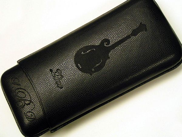 engraved leather cigar case