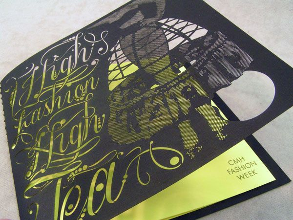 LAser cut stationery: invitation for a fashion week