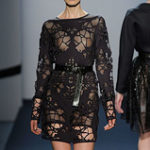 laser cut neoprene dress for Michael Angel NYC