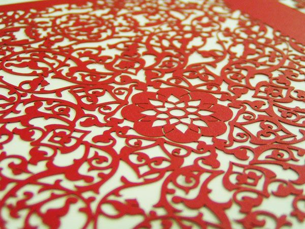 floral design laser cut paper stationery