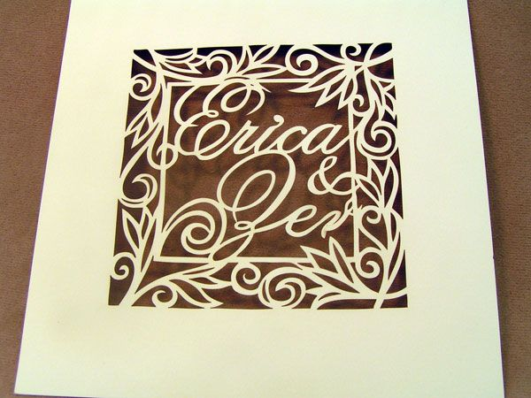 Laser cut paper invitation