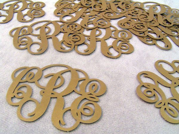 laser cut paper monograms for wedding