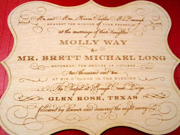 laser engraved wedding wood invitation
