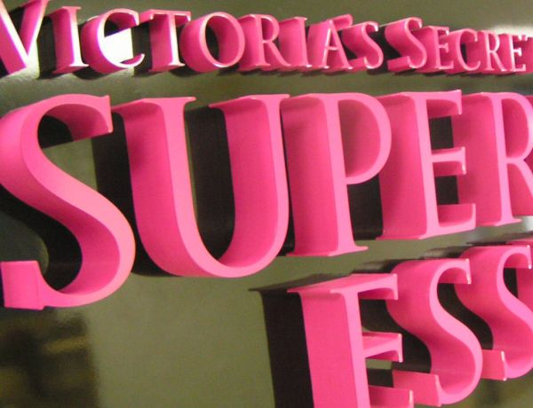 laser cut Victoria's Secret sign