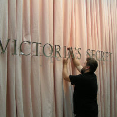 Sign installation at Victoria's Secret headquarters