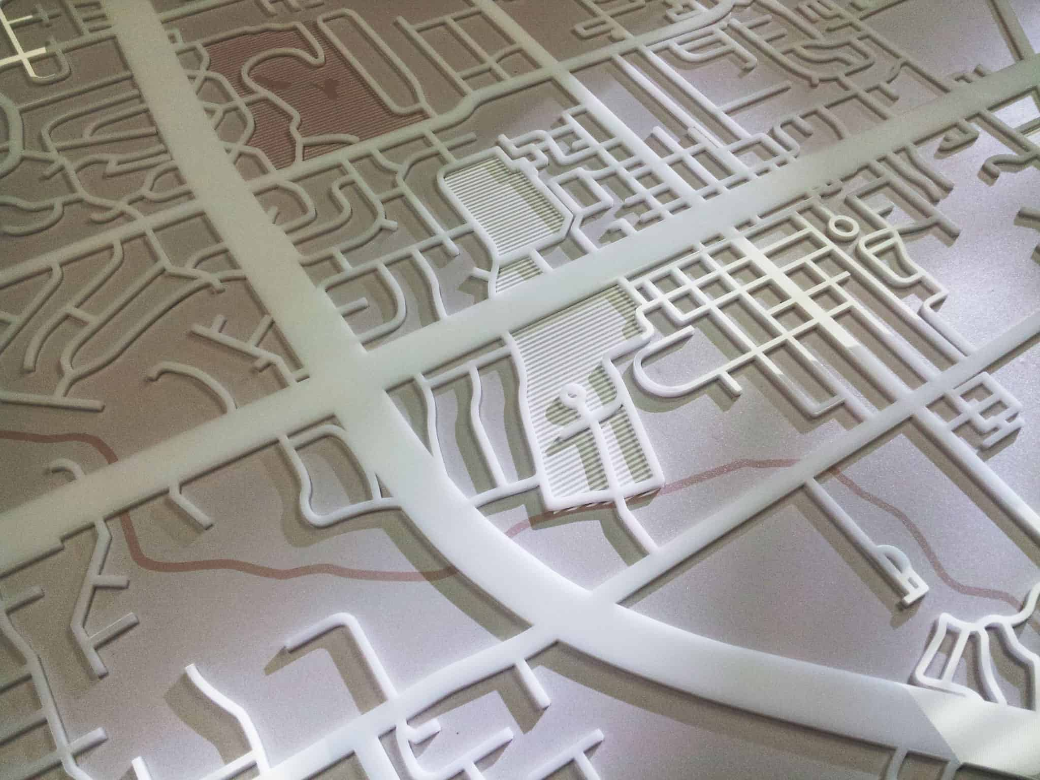 Laser cut acrylic map for Huntington Bank