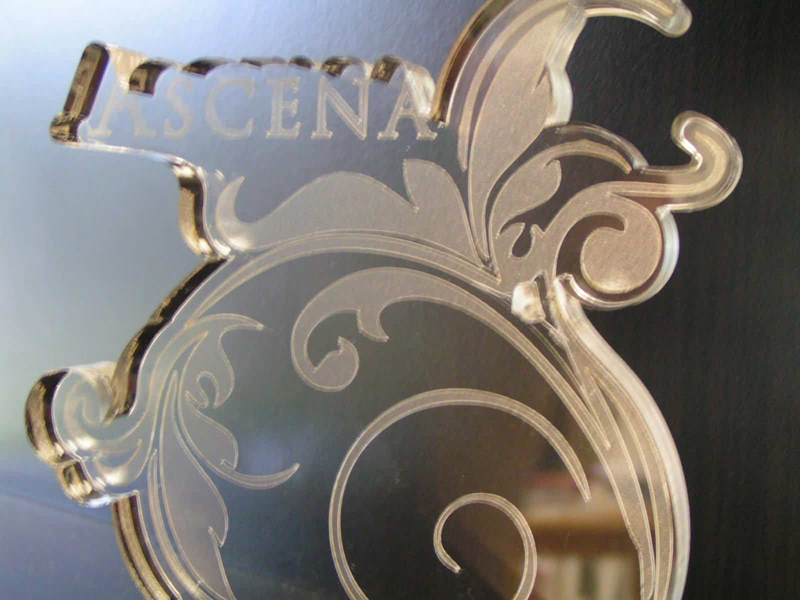 Laser cut and engraved award for Ascena