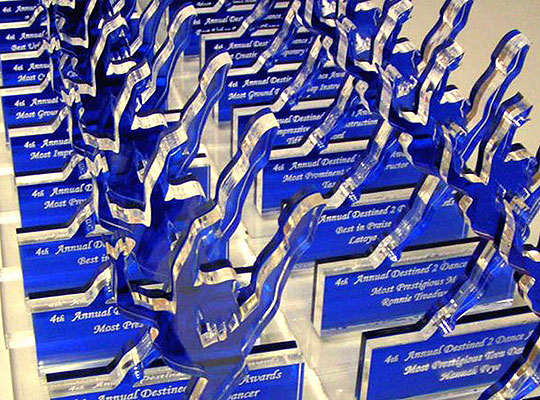 Laser Cut and Engraved Acrylic Awards