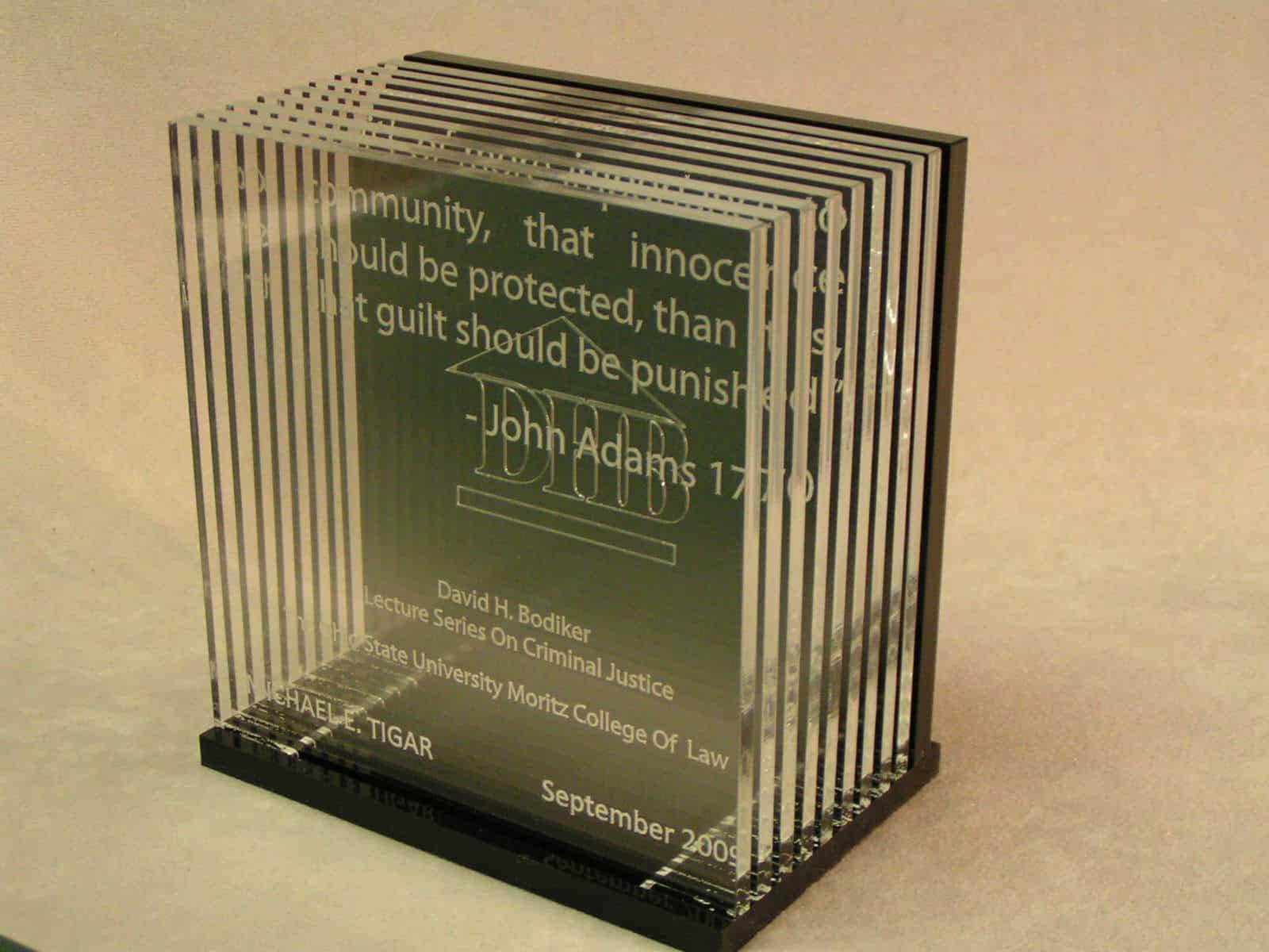 Laser Cut Engraved Award