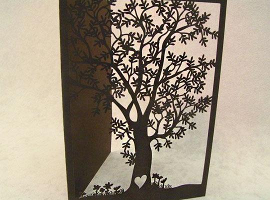 Laser Cut Paper Tree Stationary Invitation Design