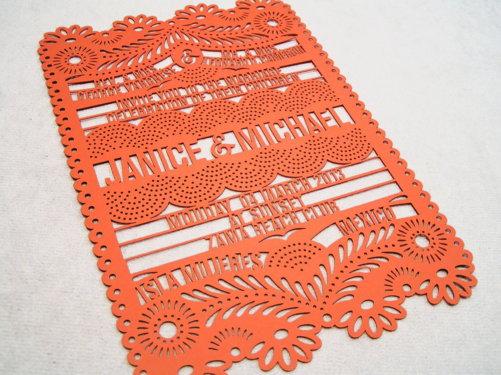 Laser Cut Papel Picado Invite Card Orange