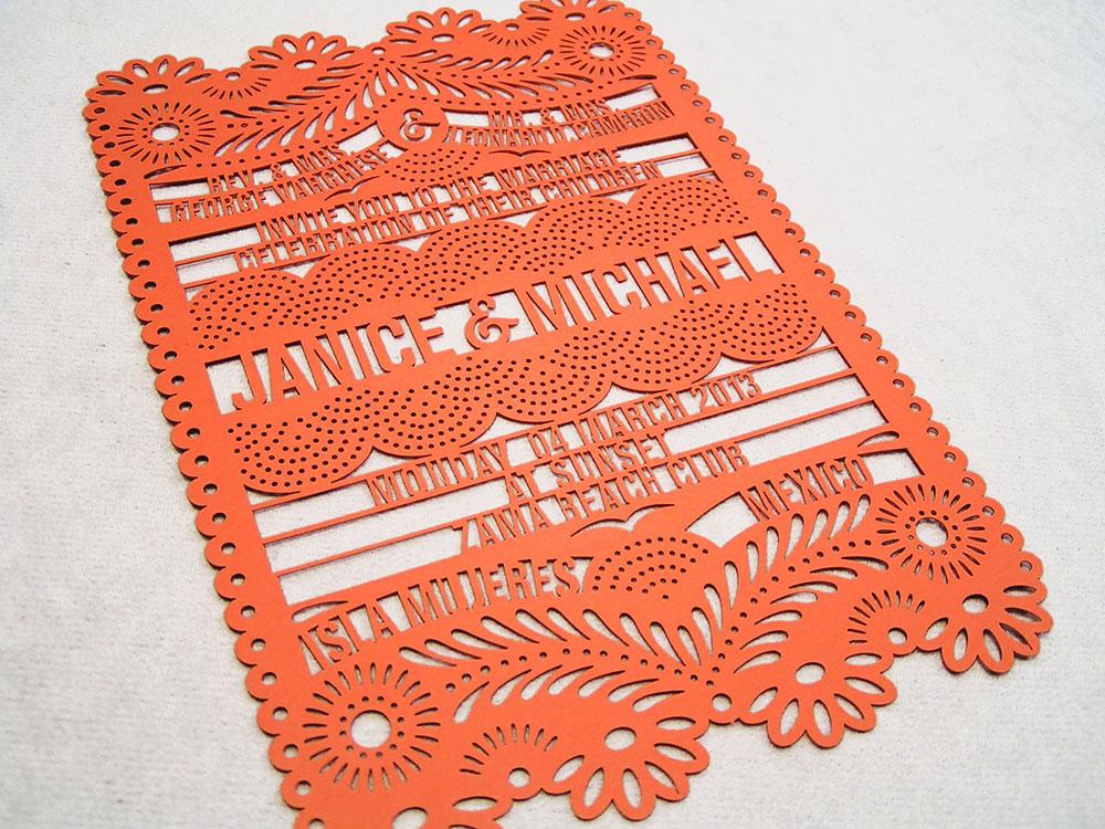 Laser Cut Papel Picado Invite Card Orange