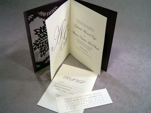 Custom Black and White Wedding Invitation with RSVP