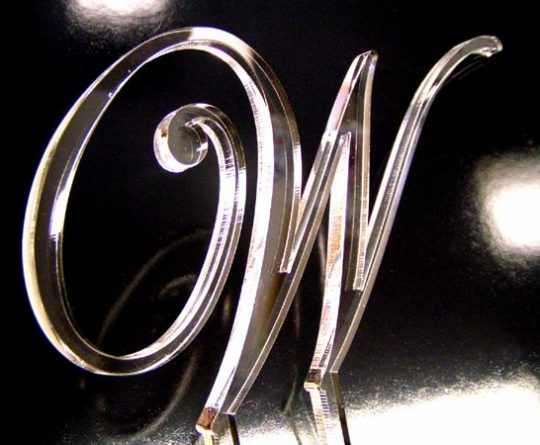 laser cut clear acrylic monogram letter