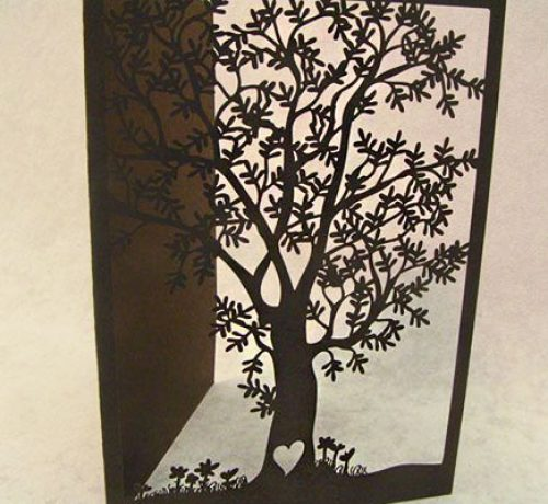 Laser Cut Paper Tree Stationary Invitation Design