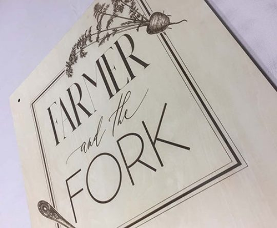 Laser Engraved Design - Farmer and the Fork
