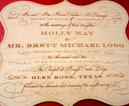 laser engraved wedding wood invitation