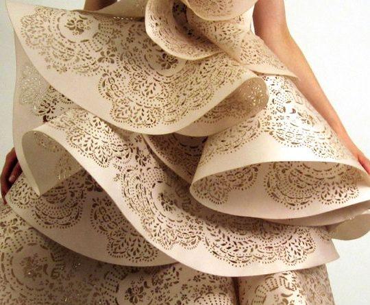 laser cut dress detail for Marchesa dress